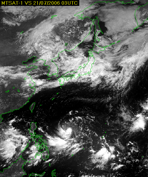 Visible (VIS) image 03UTC 21 July 2006 MTSAT-1R image Reflection intensities differ depending upon cloud thickness. Lower clouds can be seen well.