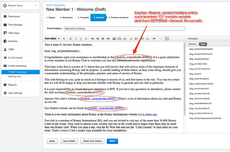 Automated Email Campaign Setup Step 4 - Content Edit the content as desired.