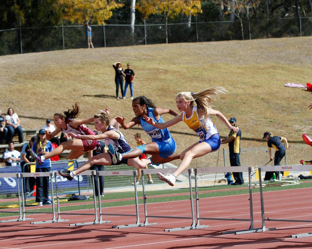 04 Hurdles Hurdles Hurdle races are sprints with obstacles (hurdles) placed in each lane. Hurdle sizes change with the age group of the athletes. They start at 45cm in height and go up to 76cm.