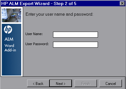 Chapter 3: Exporting Data to ALM The HP ALM Export Wizard - Step 1 of 5 dialog box opens. Type your ALM URL: http://<alm server name>[:port]/qcbin.