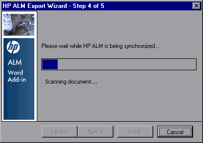 Chapter 3: Exporting Data to ALM 7. Click Next. The HP ALM Export Wizard - Step 3 of 5 dialog box opens. Select an ALM domain and project. 8. Click Export.