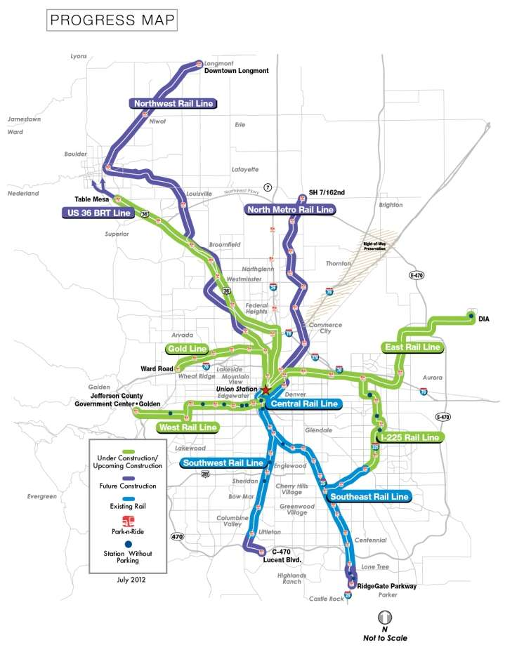 The RTD FasTracks Build Out Plan 122 miles of new light rail and commuter rail 18