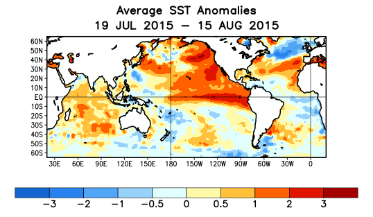 Figure 5: Tropical Ocean Sea Surface Temperature Anomaly Patterns to mid-august 2015 (Courtesy of NOAA) 5.2 Predicted ENSO Nino3.