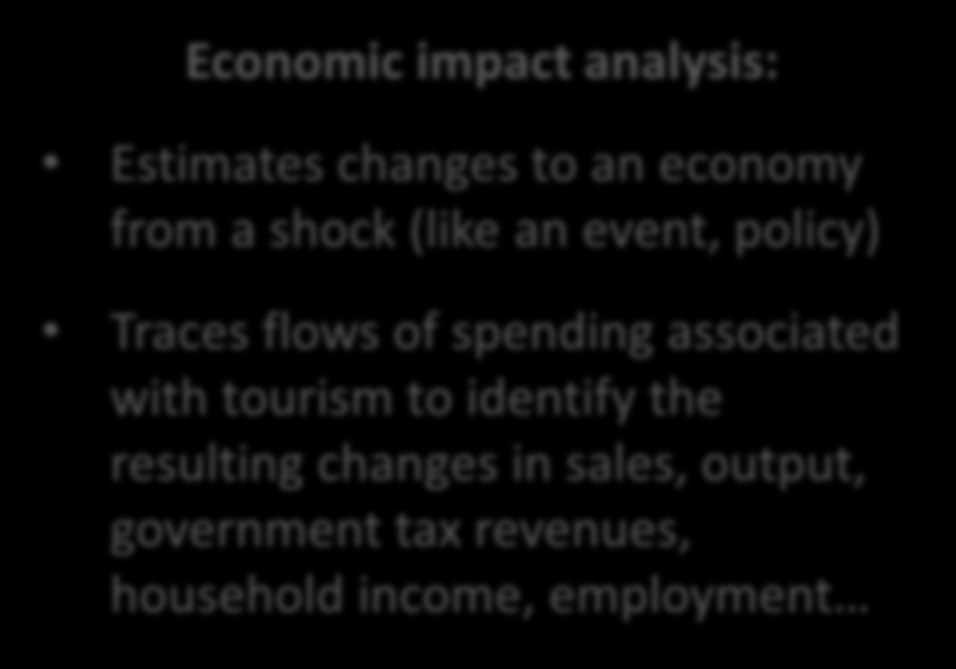 Enabling economic impact analysis: an additional benefit of TSA TSA, in itself, does not provide economic impacts but enables calculating them: Economic contribution of tourism: size and significance