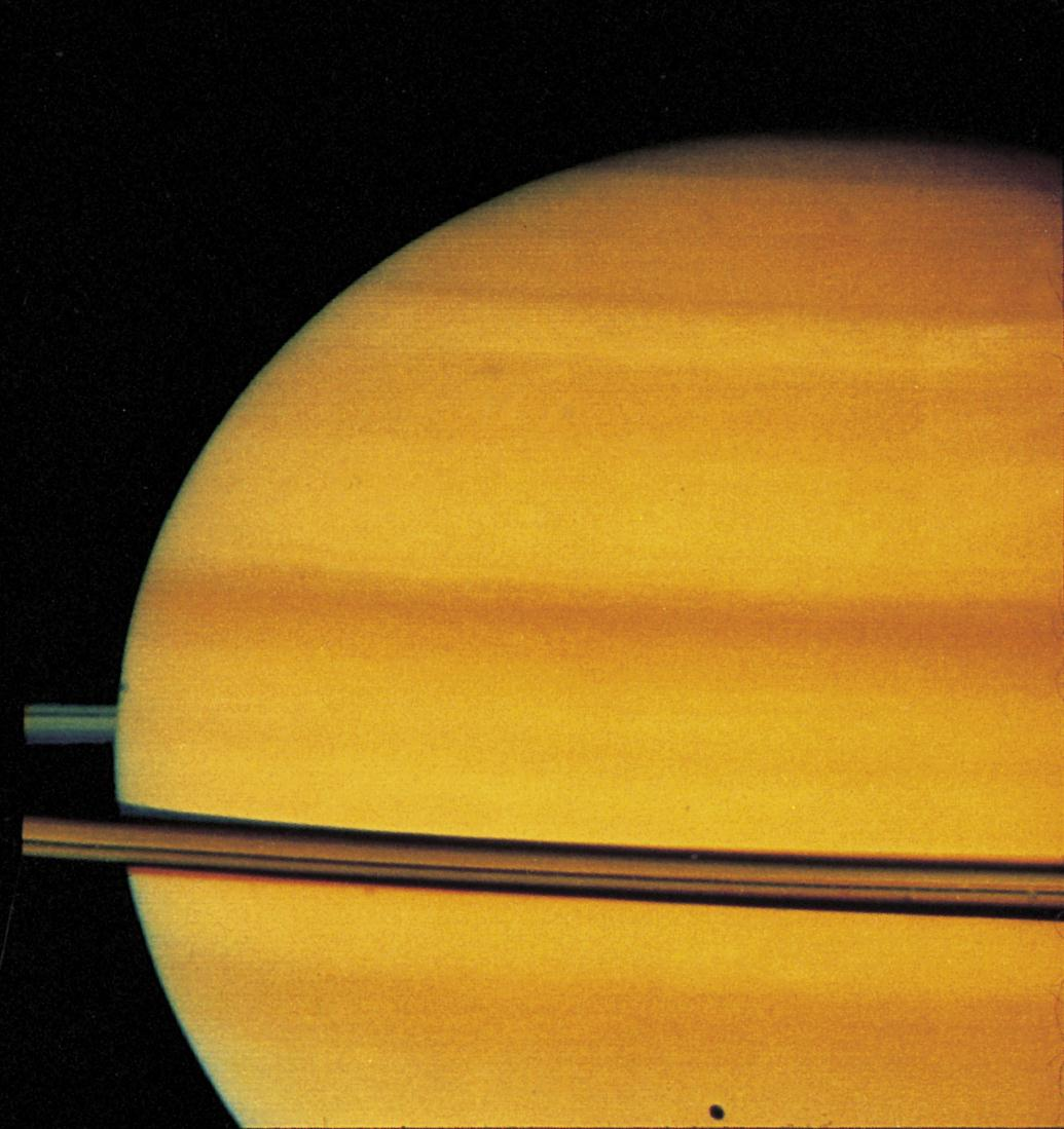 Saturn, like Jupiter, has bands of belts and zones There is much less contrast between the belts and zones on Saturn than on Jupiter.