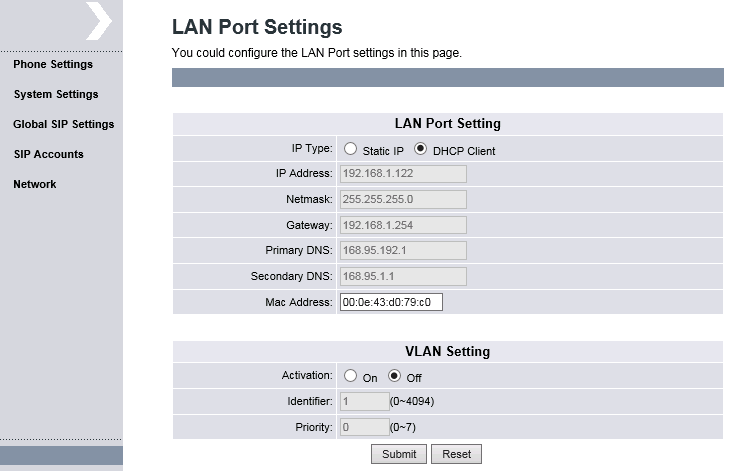 6.2 Configure LAN Port Setting On the left panel, select Network LAN Port Settings and configure either as DHCP Client (default) or Static