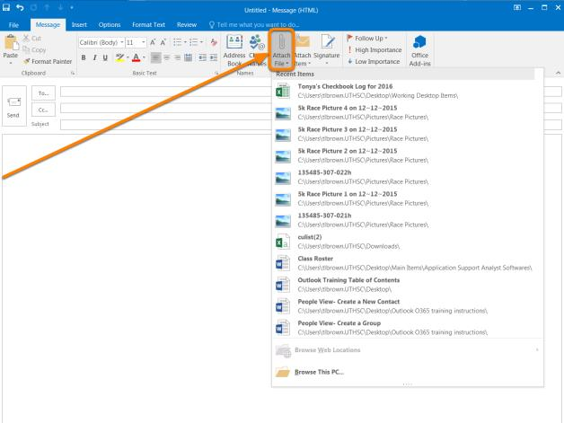 What s new in Outlook 2016 for Windows Email attachments Outlook 2016 (Windows) - Email attachments With Outlook 2016, you can save time by easily attaching documents that you most recently used in