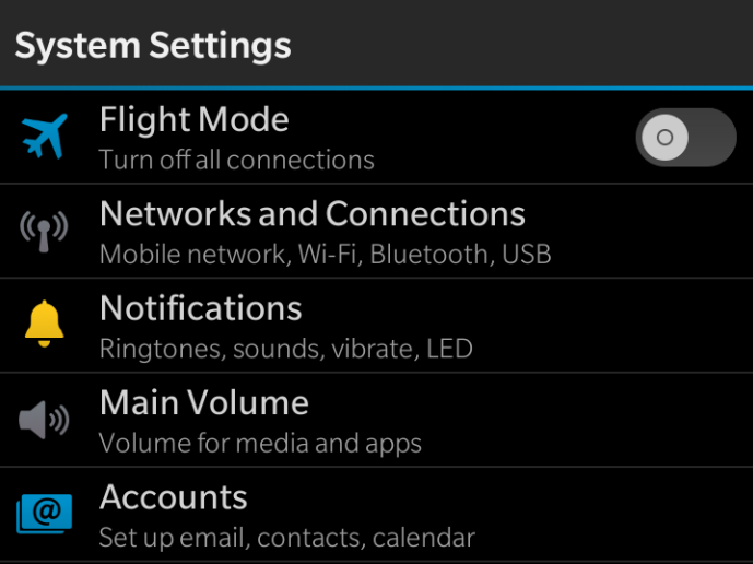 Adding Outlook Account to BB10 Device Swipe down from the top of the device, tap Settings.