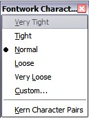 Figure 22: The extended alignment toolbar Fontwork Character Spacing: select the desired spacing (Figure 23) and whether kerning pairs should be used.