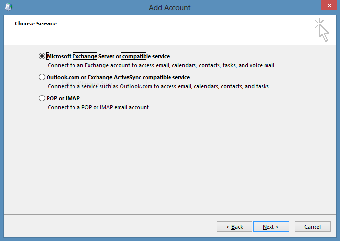 Select Microsoft Exchange Server or compatible service. 28. Click Next. 29.