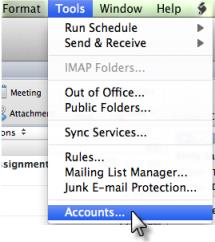 Mac OS X 1. From the Tools menu, select Accounts 2. The Accounts window will open. Click the + icon in the bottom left corner. 3.