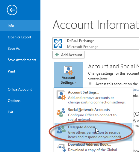 profile. 2. Click the File tab of the Outlook 2013 ribbon.