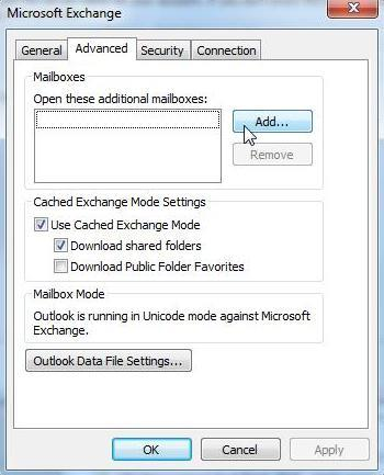 4. Select the Advanced tab and then click on Add. 5. Enter the name of the additional mailbox into the Add mailbox field.