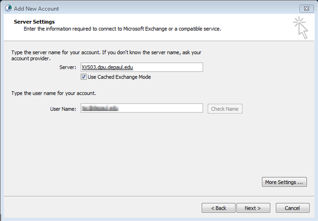 8. For Server, enter dpu.depaul.edu. 9. Ensure that Use Cached Exchange Mode is selected. 10. In the User Name field, enter the full e-mail address of the resource account.