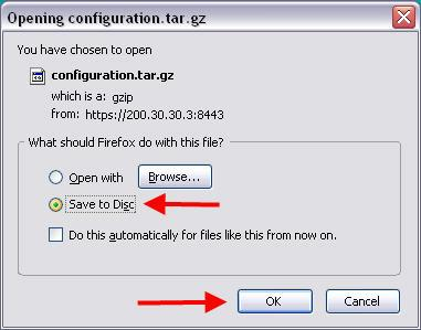 9. When the save dialogue appears, click the Save button by default Mozilla Firefox will save downloads to a designated