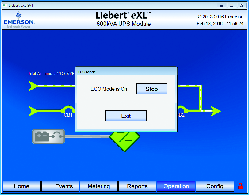 Eco Mode Configuration 1.6 Exiting Eco Mode Manually 1. Select Operation>More>Eco Mode. 2. Select Stop in the popup window. 3. The unit will exit Eco Mode.