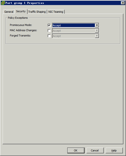 Figure 263 Port group properties dialog box 5. Select the check box next to Promiscuous Mode, and then select Accept. 6. Click OK.