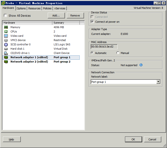 Figure 264 Setting a port group for a virtual machine network adapter 9. Click Network adapter 1, and then select Port group 1 from the Network label list for Network adapter 1 (eth0).