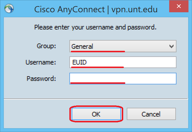 Connecting AnyConnect VPN client 1.