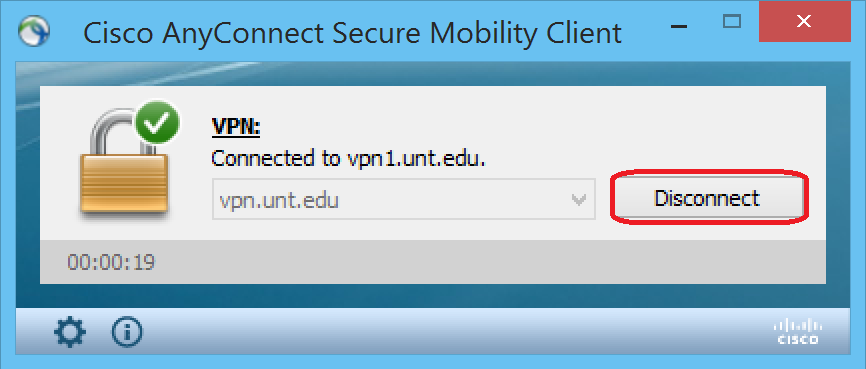 4. Click Accept to agree to UNT Terms and Conditions of Service. You will be connected to the Campus VPN and you are now logically on the UNT network.