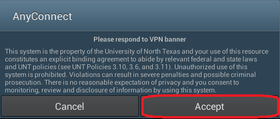 8. Tap Accept if you agree to the Terms of Service and