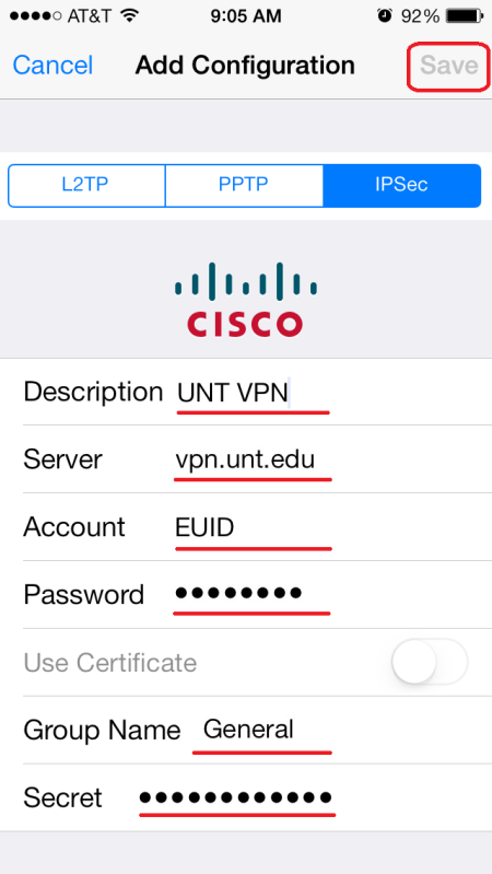 6. Configure the following items. Then, click Save. Description: UNT VPN Server: vpn.unt.