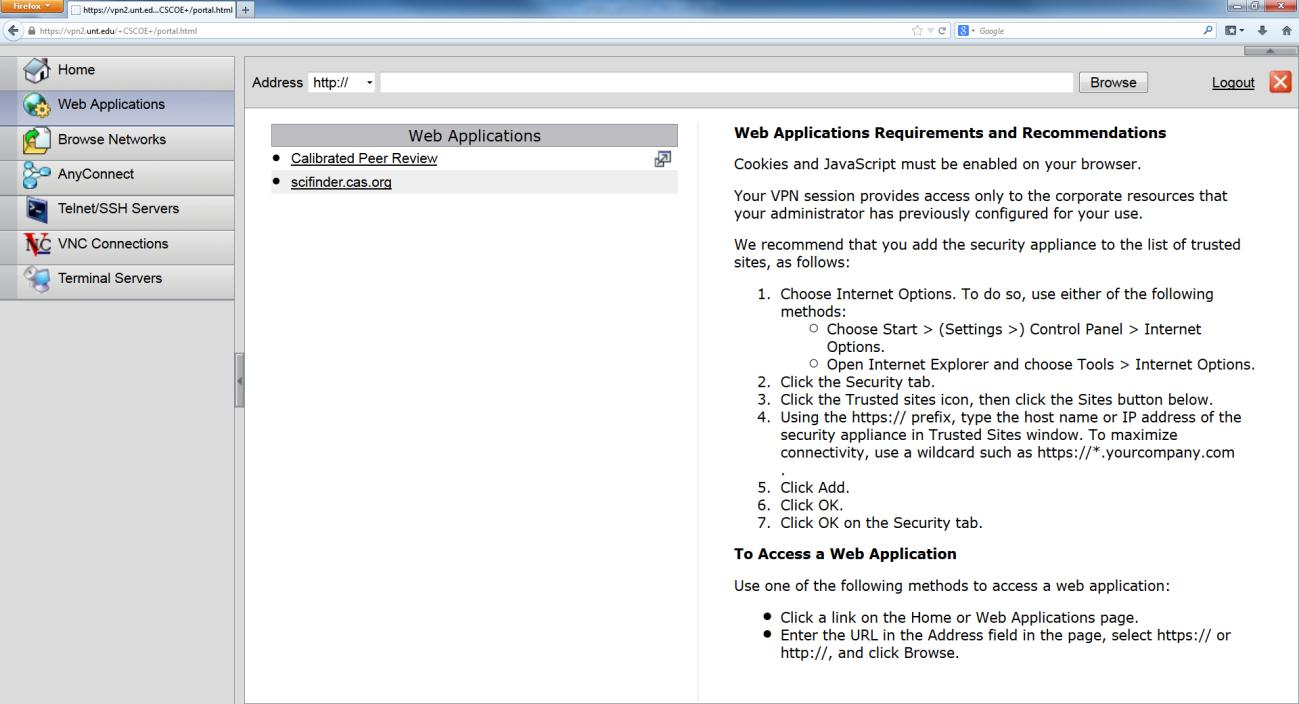 show below. The first menu item is for web applications. This is where you can use the Campus VPN as a web proxy.