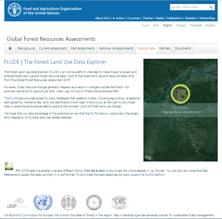 Forest Resource Assessment Publication released during the World Forestry Congress in Durban/South Africa 7-11 September 2015 Joint database hosted by FAO online