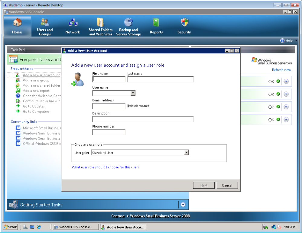Installation of Windows Small Business Server 2008 37 2. On the Add a new user account and assign a user role page, enter the following information, and then click Next.