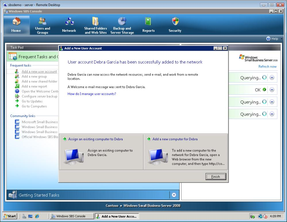 Installation of Windows Small Business Server 2008 38 Figure 58 Add user account