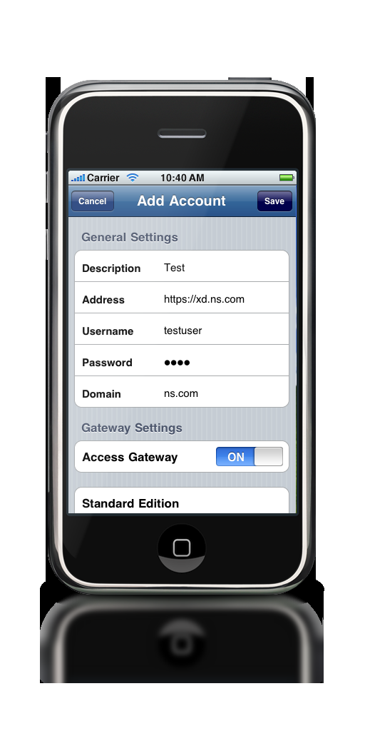 Account Settings: At this point you should see the Citrix Receiver on your iphone. Tap on it to open it, and configure with the gateway settings to the AGEE iphone Proxy.