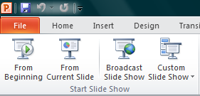 Starting a Slide Show The best way to view your slides as a show, whether you are previewing your documents or presenting to an audience, go to the Slide Show tab on the Ribbon.
