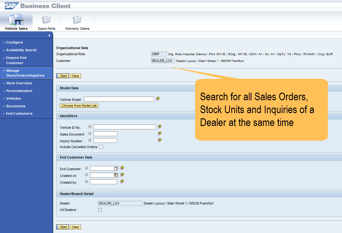 Manage Stock / Orders / Inquiries SAP SE or