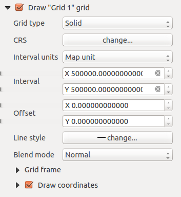 Рис. 18.6: Map Grids Dialog After you have added a grid, you can activate the checkbox Show grid to overlay a grid onto the map element.