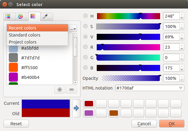 color ramp, color wheel, color swatches or color picker.