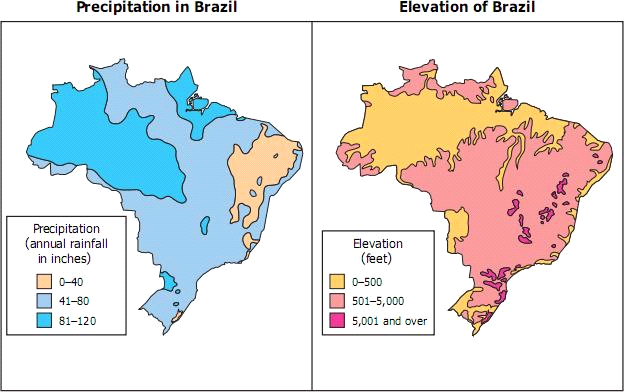 27 Based on these maps, Brazil experiences the greatest amount of rainfall at an elevation that is A at 6,560 feet B lower than 490 feet C at 1,640 feet D greater than 930 feet 28 Rainforests and