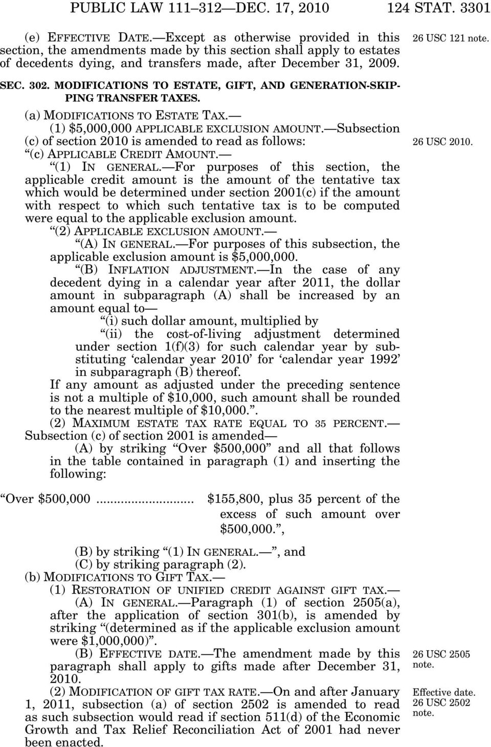 MODIFICATIONS TO ESTATE, GIFT, AND GENERATION-SKIP- PING TRANSFER TAXES. (a) MODIFICATIONS TO ESTATE TAX. (1) $5,000,000 APPLICABLE EXCLUSION AMOUNT.