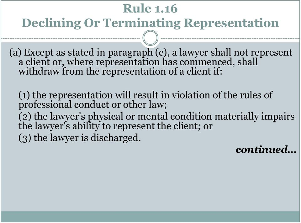 client or, where representation has commenced, shall withdraw from the representation of a client if: (1) the