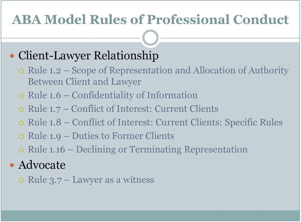6 Confidentiality of Information Rule 1.7 Conflict of Interest: Current Clients Rule 1.