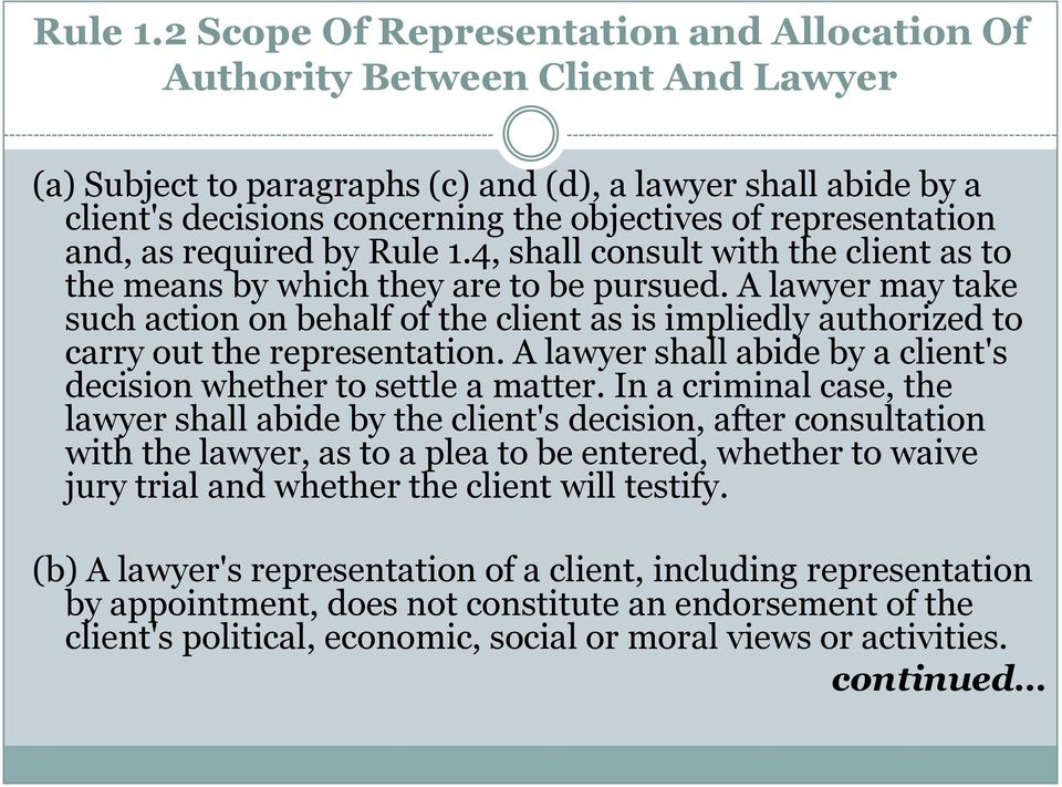 representation and, as required by 4, shall consult with the client as to the means by which they are to be pursued.