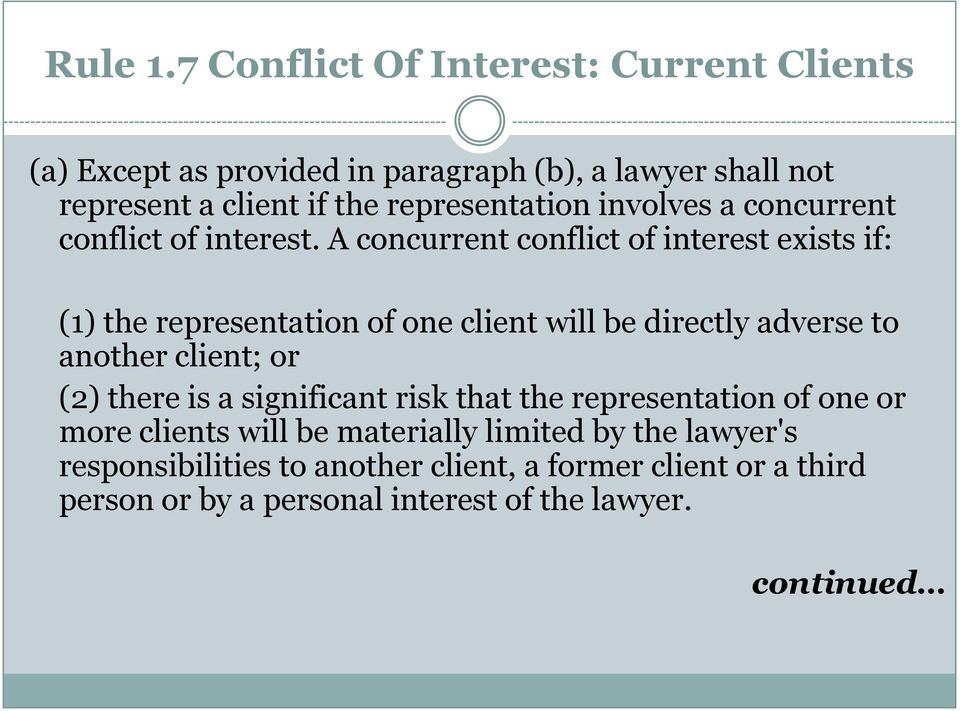 representation involves a concurrent conflict of interest.