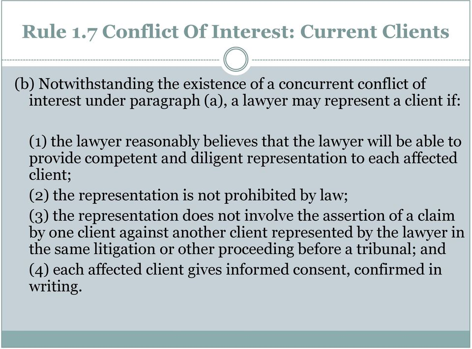 client if: (1) the lawyer reasonably believes that the lawyer will be able to provide competent and diligent representation to each affected client; (2) the