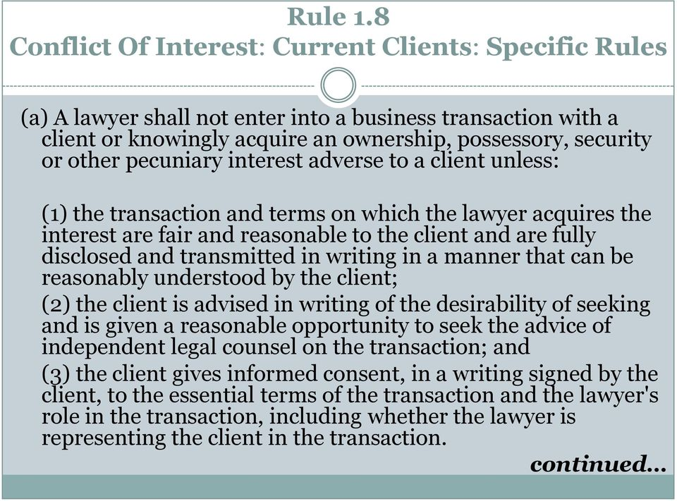 pecuniary interest adverse to a client unless: (1) the transaction and terms on which the lawyer acquires the interest are fair and reasonable to the client and are fully disclosed and transmitted in