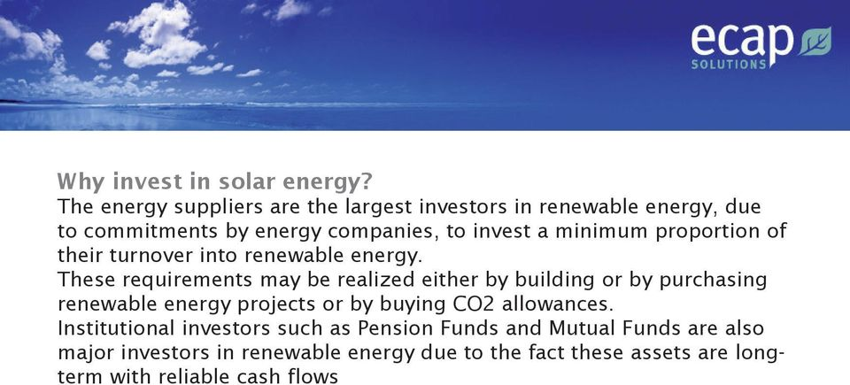 minimum proportion of their turnover into renewable energy.