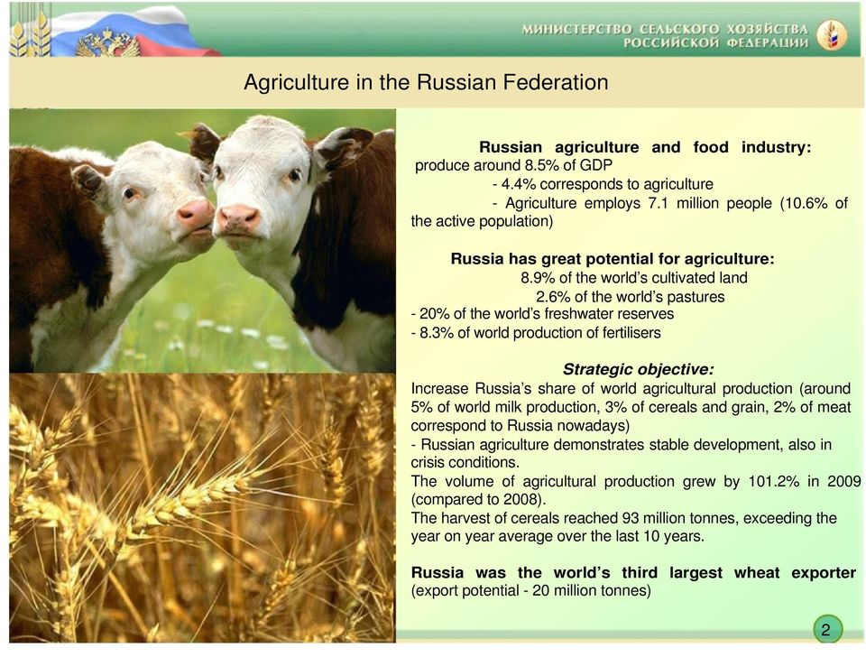 3% of world production of fertilisers Strategic objective: Increase Russia s share of world agricultural production (around 5% of world milk production, 3% of cereals and grain, 2% of meat correspond