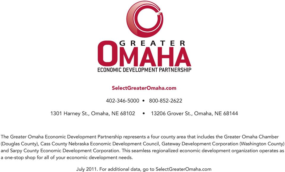 County), Cass County Nebraska Economic Development Council, Gateway Development Corporation (Washington County) and Sarpy County Economic Development