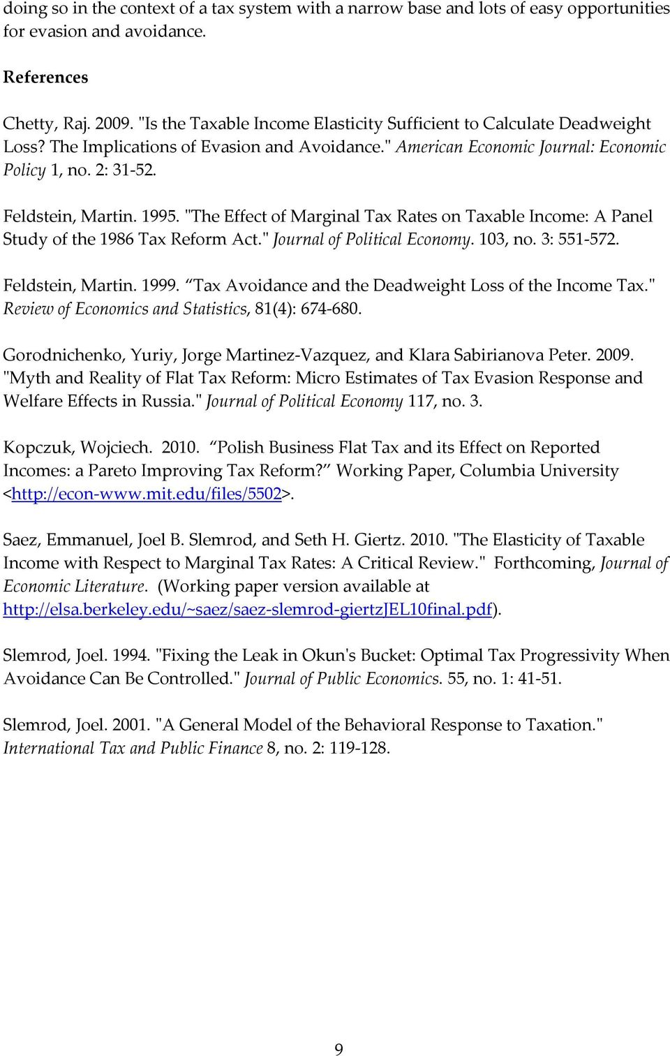 "1995. ""The Effect of Marginal Tax Rates on Taxable Income: A Panel Study of the 1986 Tax Reform Act."" Journal of Political Economy. 103, no. 3: 551-572. Feldstein, Martin. 1999."