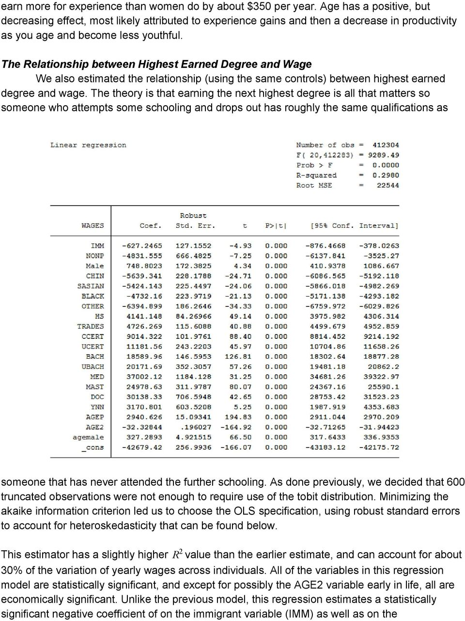 The Relationship between Highest Earned Degree and Wage We also estimated the relationship (using the same controls) between highest earned degree and wage.