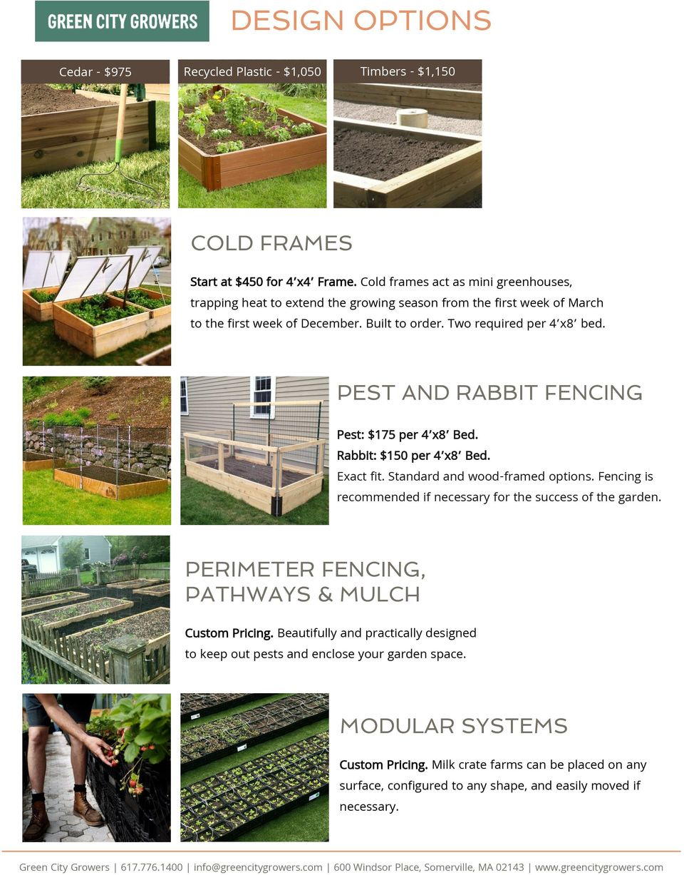 PEST AND RABBIT FENCING Pest: $175 per 4 x8 Bed. Rabbit: $150 per 4 x8 Bed. Exact fit. Standard and wood-framed options. Fencing is recommended if necessary for the success of the garden.