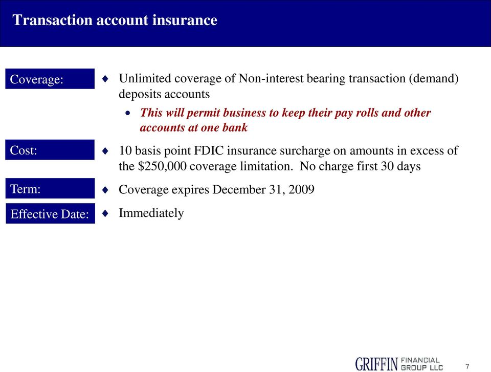 pay rolls and other accounts at one bank 10 basis point FDIC insurance surcharge on amounts in